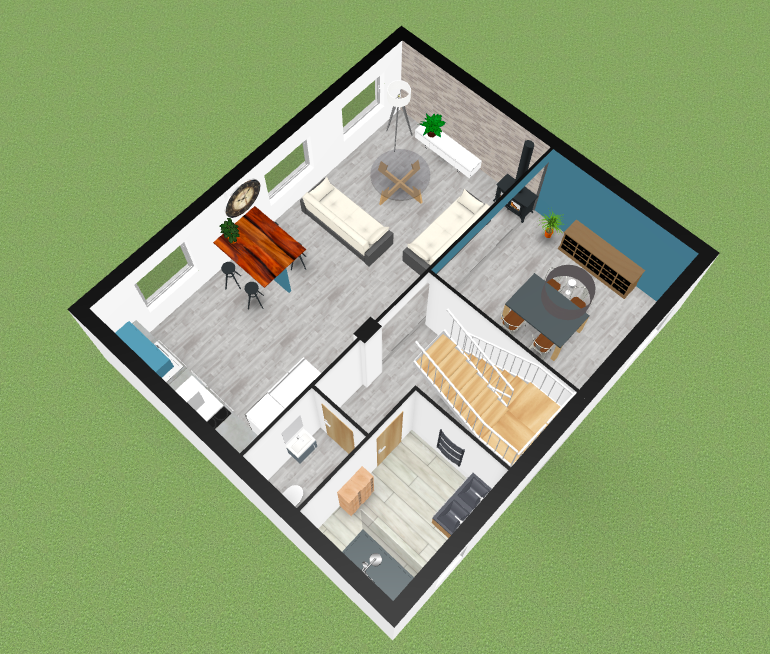 plan en 3D rénovation maison Roscoff