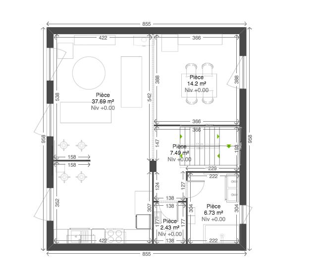 plan de rénovation en 2D maison roscoff